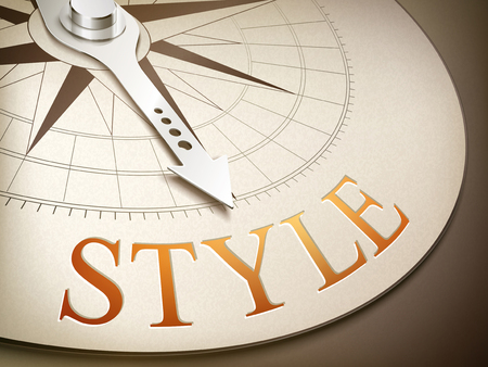 3d illustration compass needle pointing the word style Vektorové ilustrace