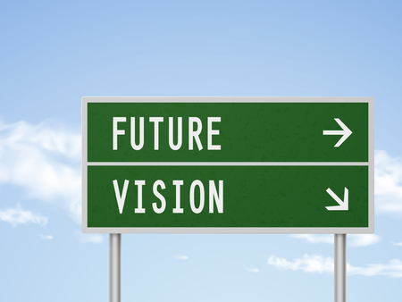 uncertain: 3d illustration road sign with future and vision isolated on blue sky