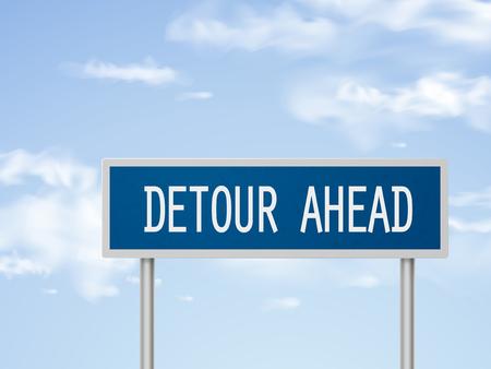 detour: 3d illustration detour ahead road sign isolated on blue sky