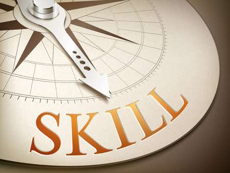 overcoming: 3d illustration compass needle pointing the word skill Illustration