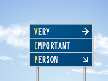 3d illustration very important person road sign isolated on blue sky 向量圖像