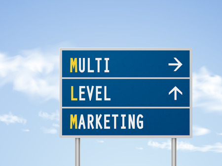 personally: 3d illustration multi level marketing road sign isolated on blue sky