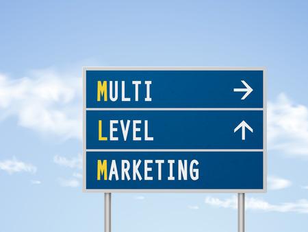multi level: 3d illustration multi level marketing road sign isolated on blue sky