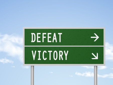 defeat: 3d illustration road sign with defeat and victory isolated on blue sky