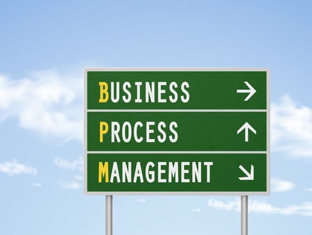 bpm: 3d illustration business process management road sign isolated on blue sky