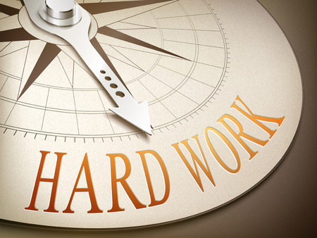 3d illustration compass with needle pointing the word hard work