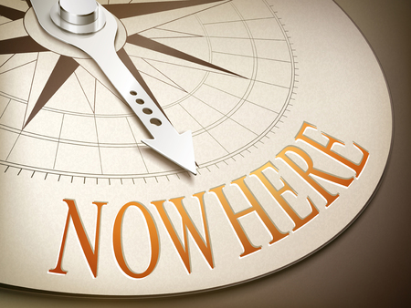 modern existence: 3d illustration compass needle pointing the word nowhere