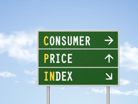 3D-afbeelding indexcijfer van de consumptieprijzen verkeersbord geïsoleerd op blauwe hemel Vector Illustratie