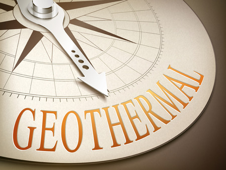 stored: 3d illustration compass with needle pointing the word geothermal