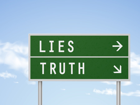 3d illustration road sign with lies and truth isolated on blue sky