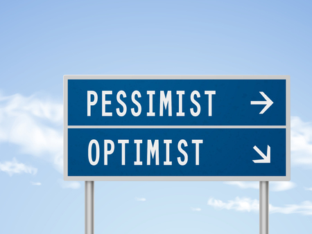 optimist: 3d illustration road sign with pessimist and optimist isolated on blue sky