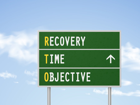 road to recovery: 3d illustration recovery time objective road sign isolated on blue sky