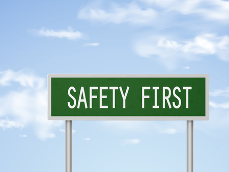safety first: 3d illustration safety first road sign isolated on blue sky