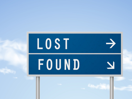lost: 3d illustration road sign with lost and found isolated on blue sky Illustration