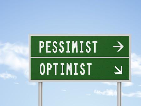pessimist: 3d illustration road sign with pessimist and optimist isolated on blue sky