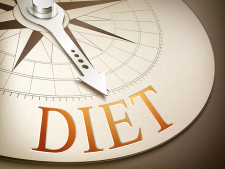 3d illustration compass needle pointing the word diet