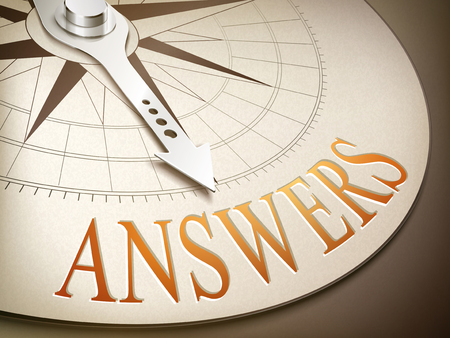 overcoming: 3d illustration compass needle pointing the word answers