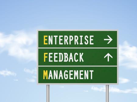 rend: 3d illustration enterprise feedback management road sign isolated on blue sky