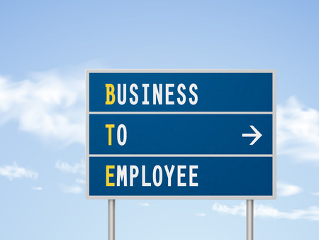 b2e: 3d illustration business to employee road sign isolated on blue sky