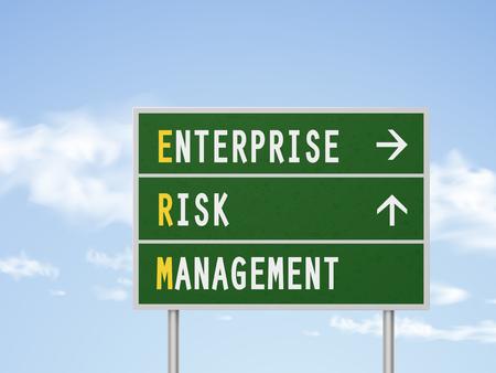 erm: 3d illustration enterprise risk management road sign isolated on blue sky
