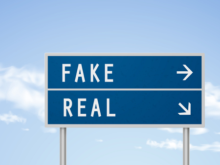 fake: 3d illustration road sign with fake and real isolated on blue sky