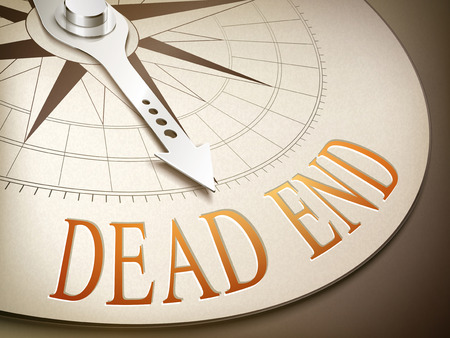 dead end: 3d illustration compass needle pointing the word dead end Illustration
