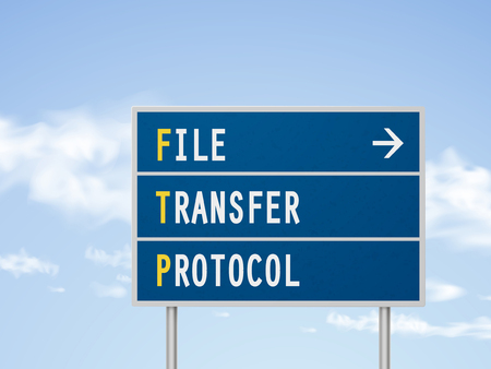 protocol: 3d illustration file transfer protocol road sign isolated on blue sky