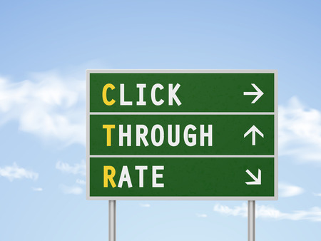 rate: 3d illustration click through rate road sign isolated on blue sky Illustration