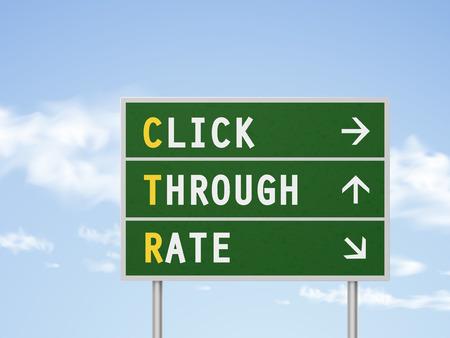 3d illustration taux de clic, route, signe isolé sur ciel bleu