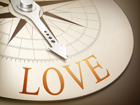 friend  nobody: 3d illustration compass with needle pointing the word love