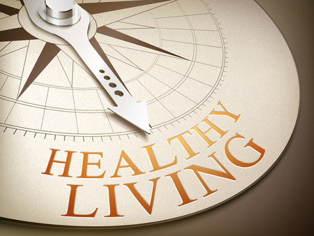 3d illustration compass with needle pointing the word healthy living