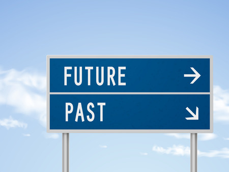 past: 3d illustration road sign with future and past isolated on blue sky Illustration