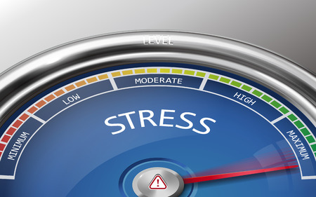 physical exam: stress conceptual 3d illustration meter indicator isolated on grey background