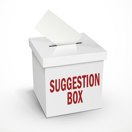 voting box: suggestion word on the 3d illustration white voting box isolated on white background