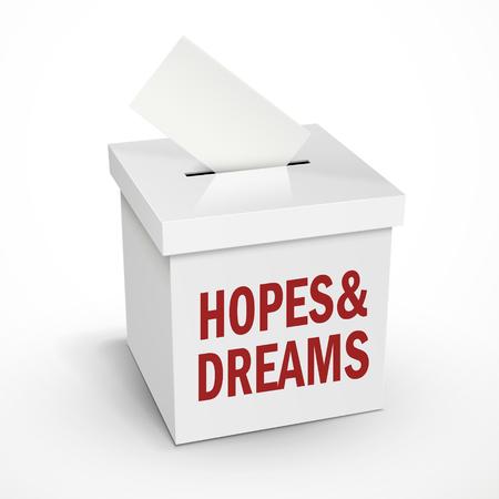 3 d のイラスト ホワイト ボックスは、白い背景で隔離の投票上の単語を夢し、希望