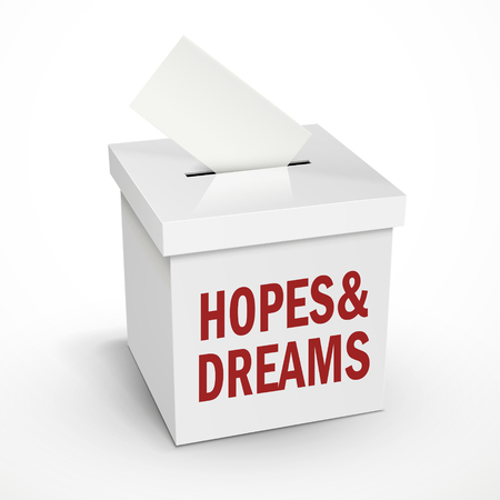 hopes and dreams words on the 3d illustration white voting box isolated on white background