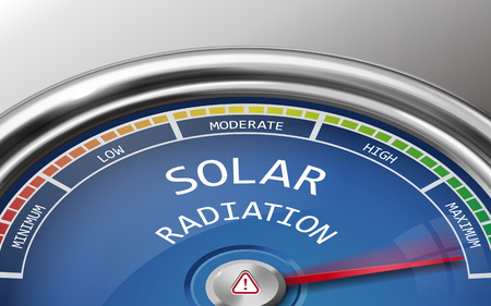 radiacion solar: solar radiation conceptual 3d illustration meter indicator isolated on grey background Vectores