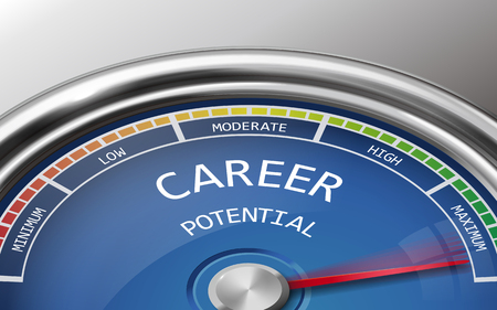 potential: career potential conceptual 3d illustration meter indicator isolated on grey background