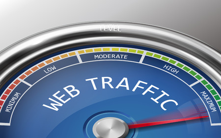 hits: web traffic conceptual 3d illustration meter indicator isolated on grey background