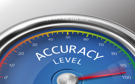 indicate: accuracy level conceptual 3d illustration meter indicate hundred percent isolated on grey background