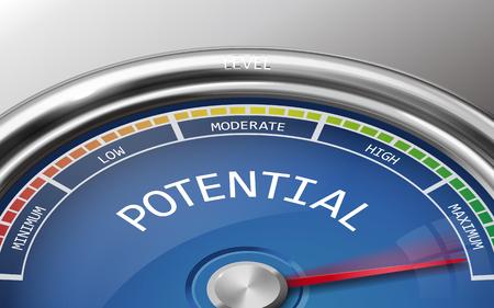 potentiële conceptuele 3d illustratie meter indicator die op grijze achtergrond Stock Illustratie