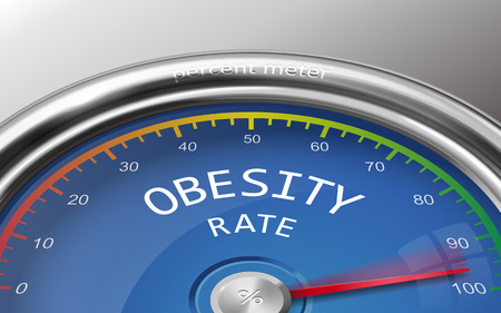 overeating: obesity rate conceptual 3d illustration meter isolated on grey bacckground