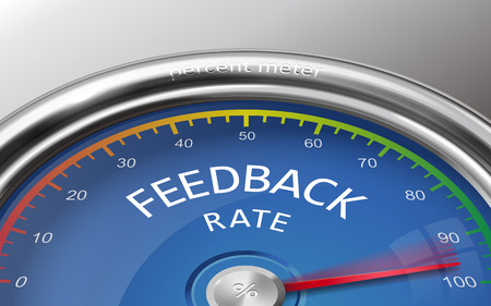 indicate: feedback rate 3d illustration meter indicate hundred percent isolated on grey background