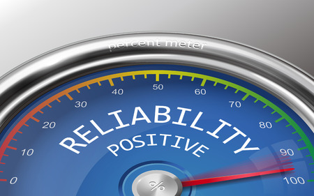 reliability: reliability level conceptual 3d illustration meter indicate hundred percent isolated on grey background Illustration