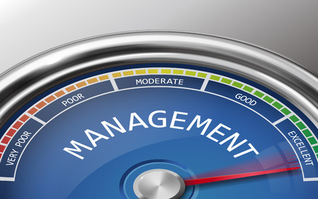 rating meter: management conceptual 3d illustration meter indicator isolated on grey background Illustration