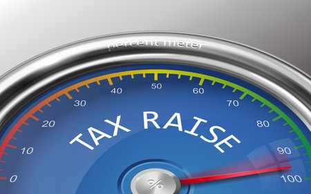 raise: tax raise conceptual 3d illustration meter isolated on grey background