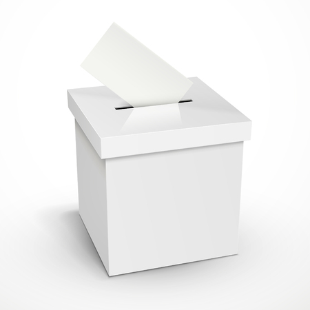 voting: blank 3d illustration white voting box isolated on white background Illustration