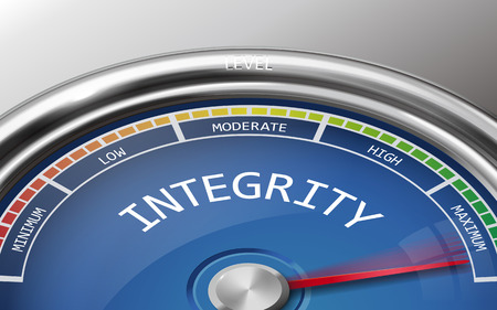 decency: integrity conceptual 3d illustration meter indicator isolated on grey background