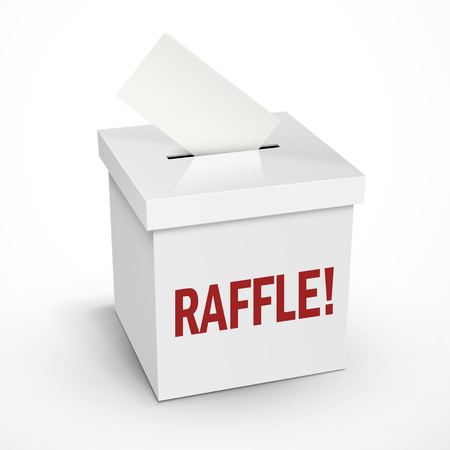raffle: raffle word on the 3d illustration white voting box isolated on white background Illustration