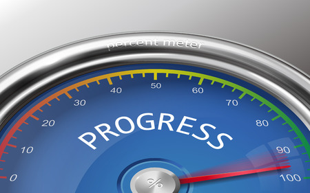 indicate: progress conceptual 3d illustration meter indicate hundred percent isolated on grey background